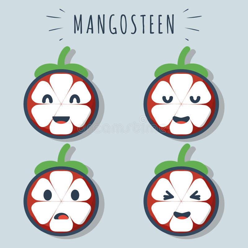 Frutta felice del mangostano illustrazione di stock
