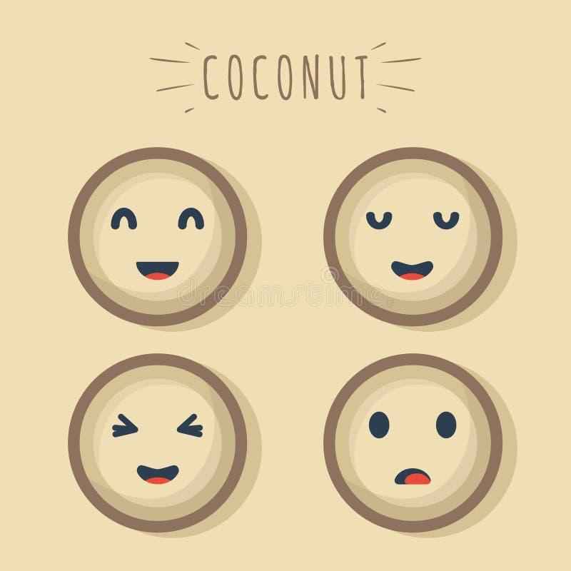 Frutta felice della noce di cocco royalty illustrazione gratis