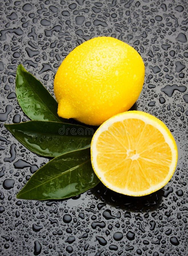 Frutta fresca del limone su superficie bagnata fotografia stock