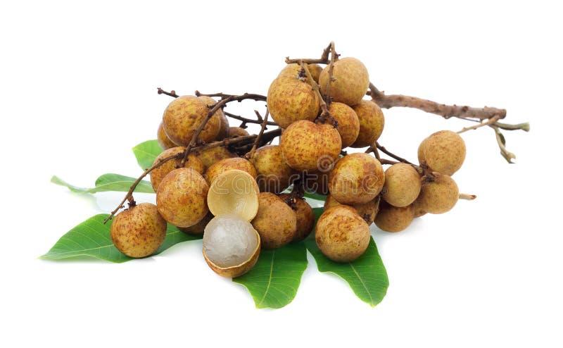 Frutta fresca del Longan, dimocarpus longan, su bianco, centrale di tailandese fotografie stock libere da diritti