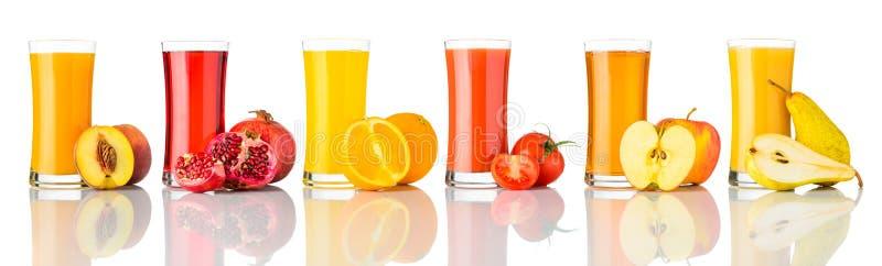 Frutta fresca Juice Isolated su collage bianco immagine stock