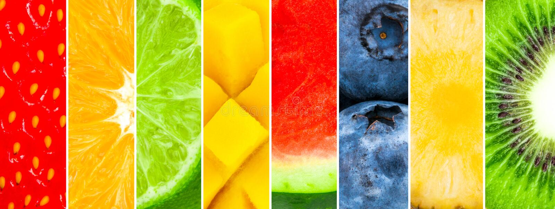 Frutta fresca succosa e Misto dell'anguria, ananas, kiwi, mirtillo, mango, calce, arancia, mela, fragola royalty illustrazione gratis