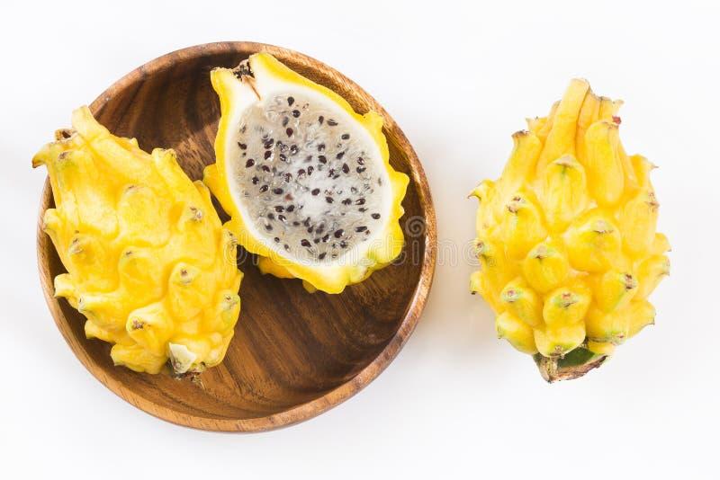 Frutta gialla del drago o frutta del drago - megalanthus del Selenicereus fotografia stock