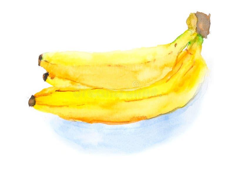 Frutta gialla della banana dell'acquerello con ombra fotografia stock libera da diritti