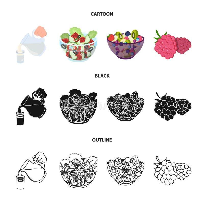 Frutta, insalata di verdure ed altri tipi di alimenti Icone stabilite della raccolta dell'alimento nel fumetto, il nero, simbolo  illustrazione di stock