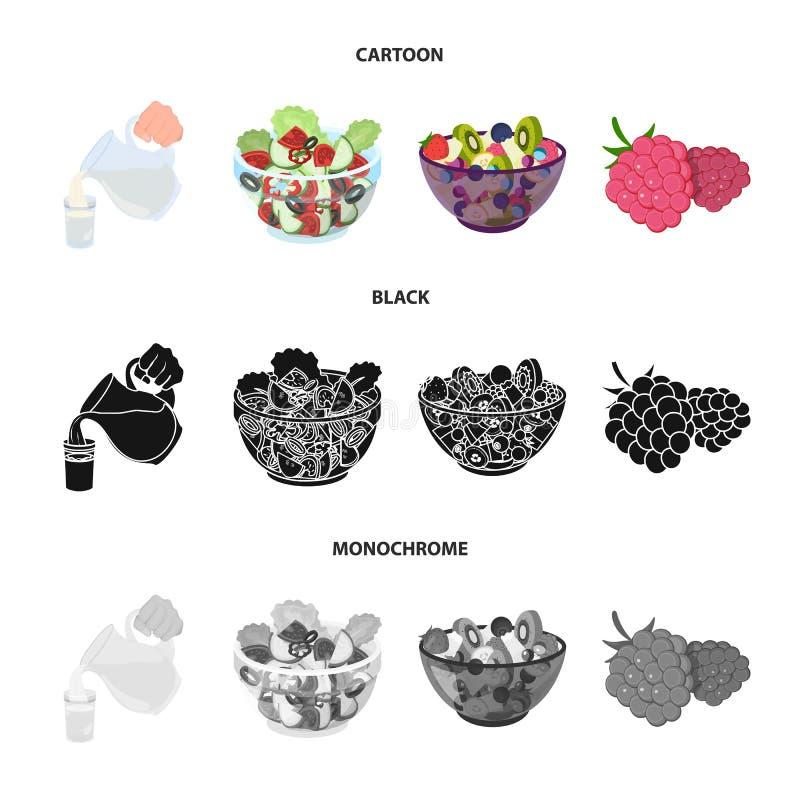 Frutta, insalata di verdure ed altri tipi di alimenti Icone stabilite della raccolta dell'alimento nel fumetto, il nero, vettore  royalty illustrazione gratis