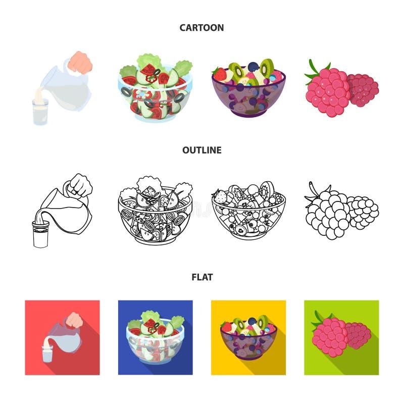 Frutta, insalata di verdure ed altri tipi di alimenti Icone stabilite della raccolta dell'alimento nel fumetto, profilo, simbolo  illustrazione di stock