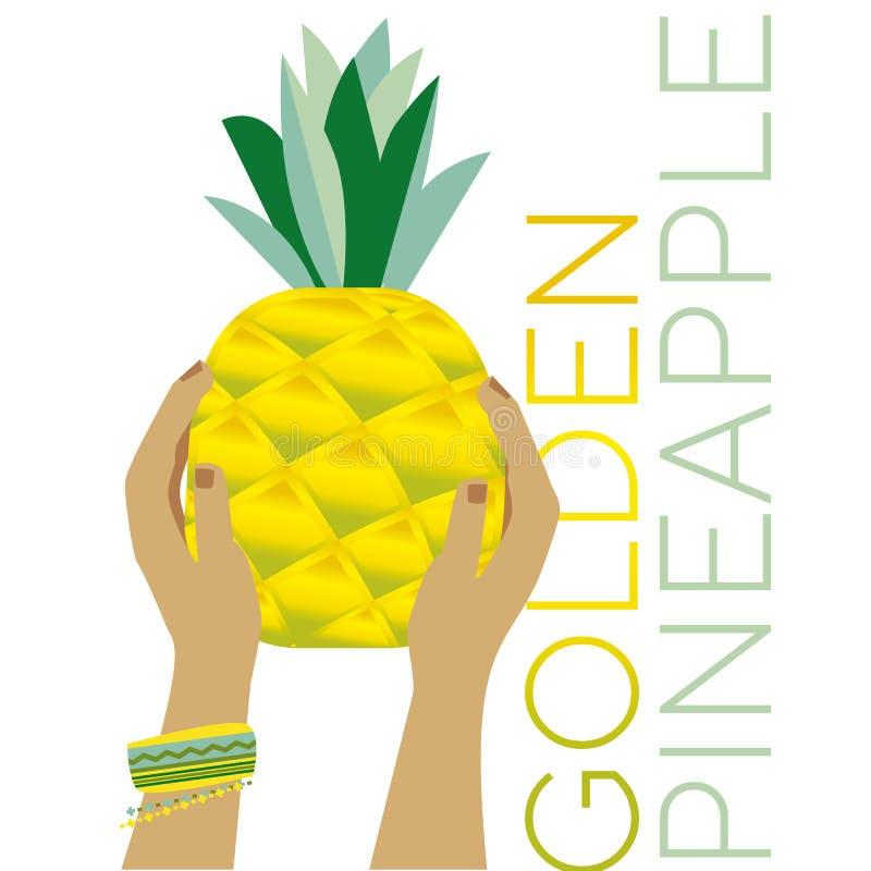 Frutta laconica semplice dell'ananas in mani della donna royalty illustrazione gratis