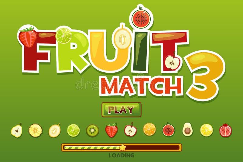 Frutta match3 sulle icone di frutti e del fondo Gioco del bottone e gioco di caricamento royalty illustrazione gratis