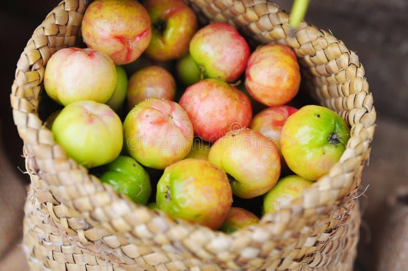 Frutta o ciliegia fresca del Malpighiaceae in sacco della tela da imballaggio fotografia stock libera da diritti