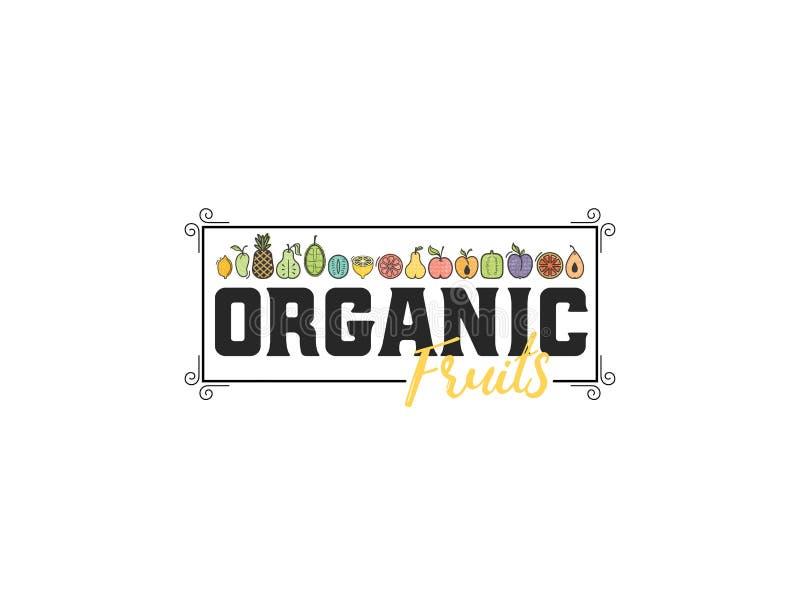 Frutta organica La frutta e le verdure, insegna vegetariana, l'estate hanno isolato le icone di vettore di colore illustrazione di stock