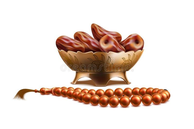 Frutta realistica il Ramadan delle date delle perle del rosario di vettore illustrazione vettoriale