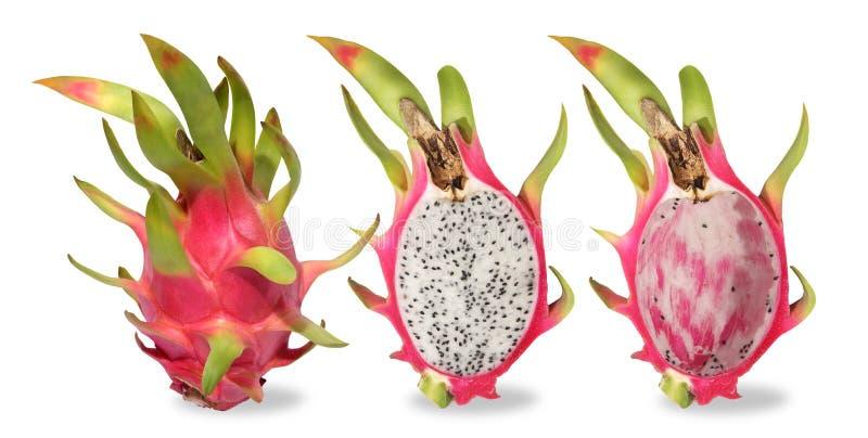 Frutta rosa del drago tre isolata su fondo bianco fotografie stock libere da diritti