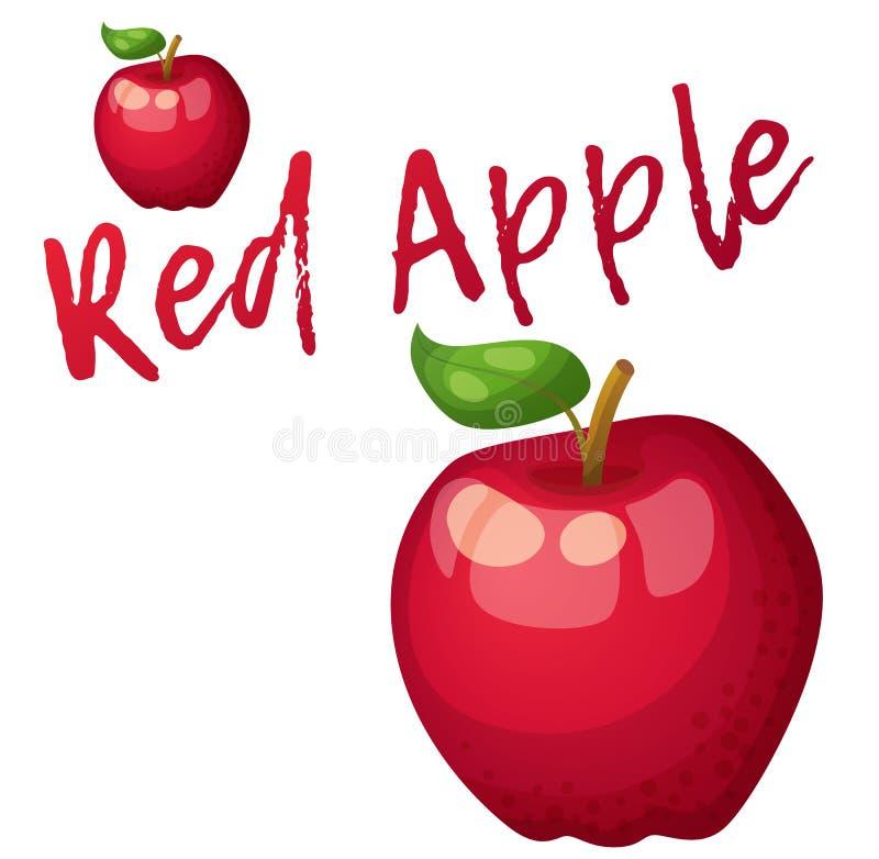 Frutta rossa della mela Icona di vettore del fumetto isolata su fondo bianco royalty illustrazione gratis