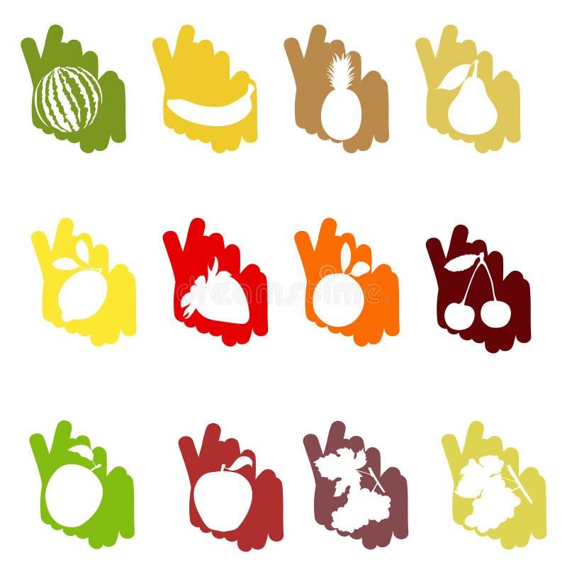 Frutta su un backgrou di colore illustrazione vettoriale