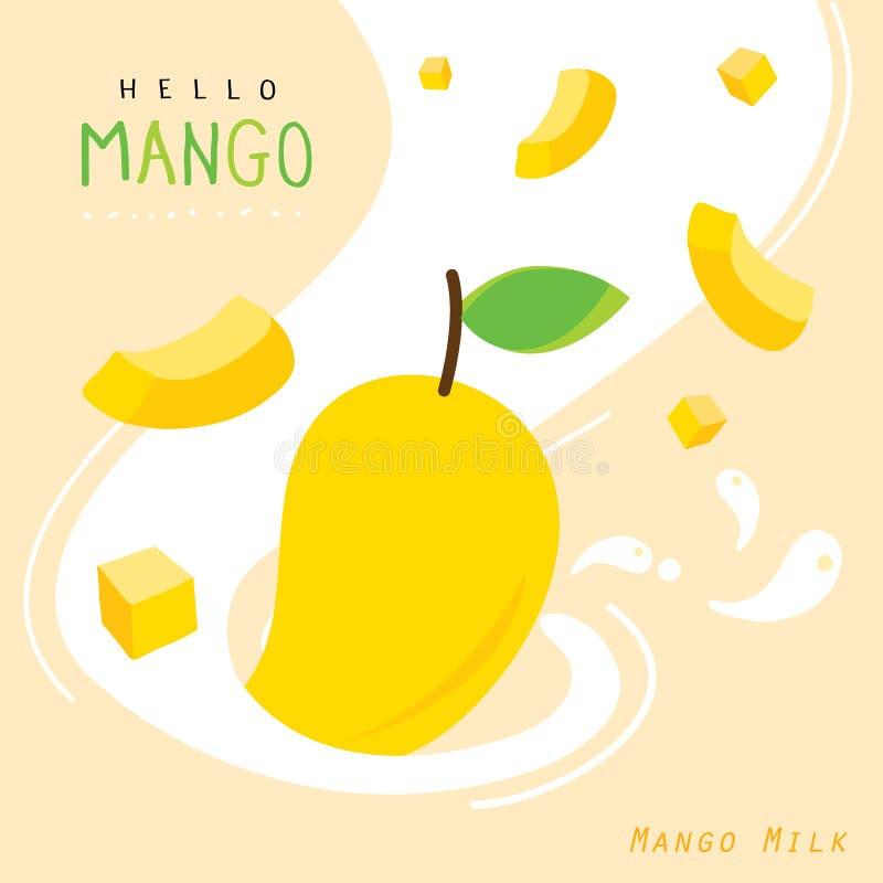 Frutta succosa del latte del mango del vettore del fumetto di estate fotografia stock