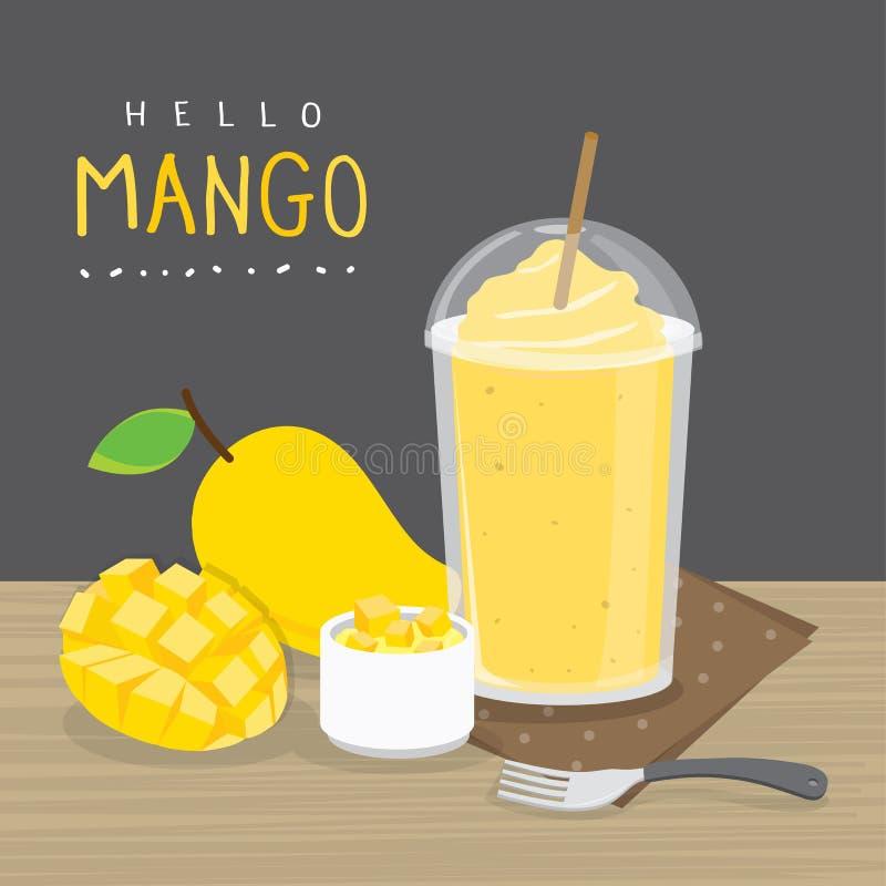 Frutta succosa del mango del vettore del fumetto di estate immagini stock libere da diritti