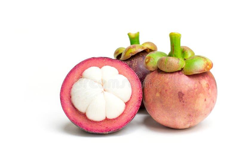 Frutta tailandese del mangostano fresco isolata su fondo bianco fotografia stock