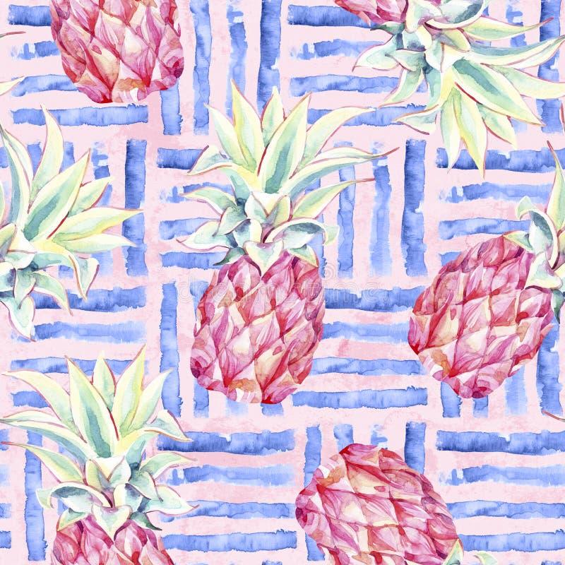 Frutta tropicale artistica con il modello senza cuciture della geometria royalty illustrazione gratis