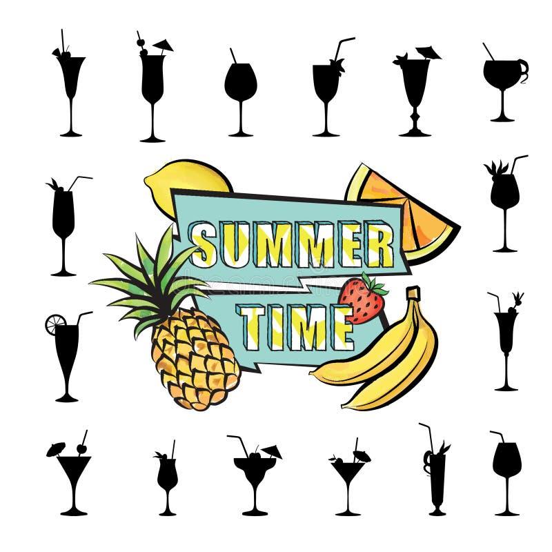 Download Frutta Tropicale Del Fondo Della Carta Del Partito Di Estate, Insieme Di Vetro Di Cocktail Illustrazione di Stock - Illustrazione di celebrazione, lifestyle: 117976044
