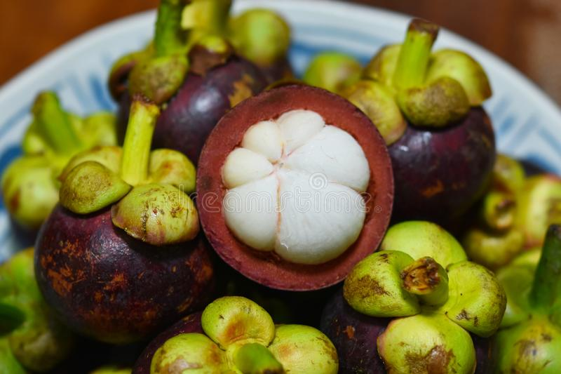 Frutta tropicale del mangostano di garcinia mangostana fotografia stock libera da diritti