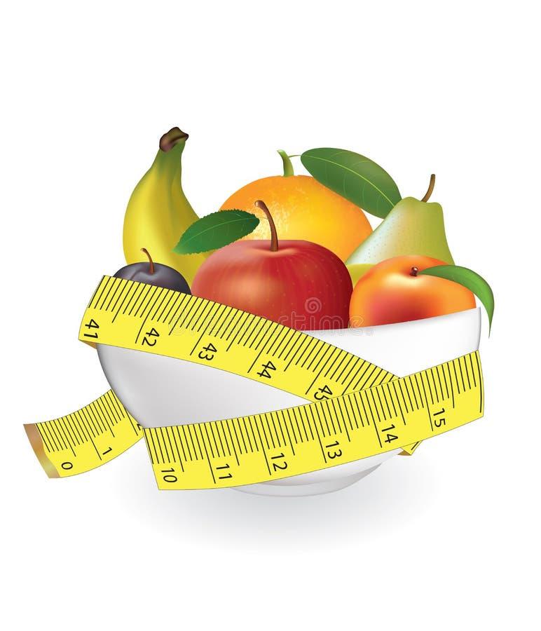 Frutti in ciotola con nastro adesivo di misurazione royalty illustrazione gratis