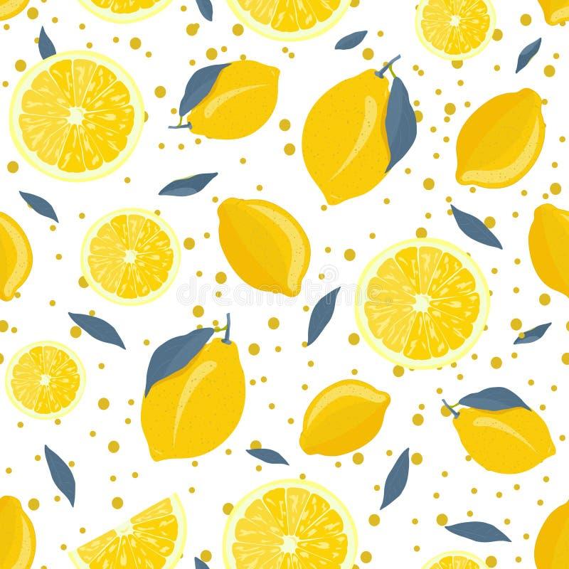 Frutti del limone e modello senza cuciture della fetta con le foglie grige e scintillare sul fondo bianco Limoni, aranci e limett illustrazione vettoriale