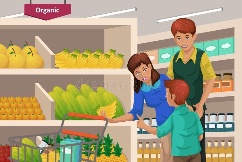 Frutti di acquisto della famiglia in un supermercato illustrazione di stock