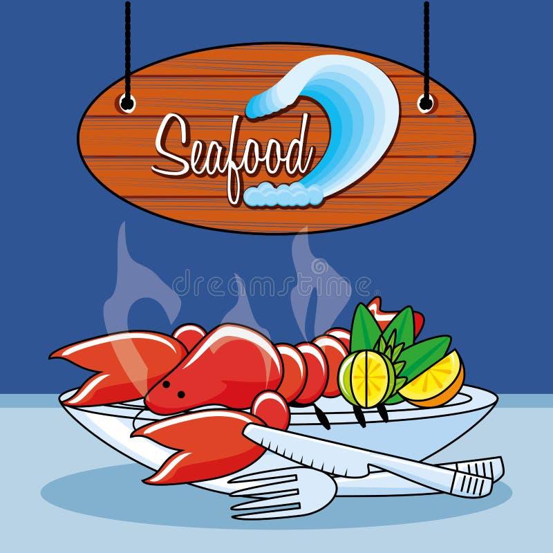 Frutti di mare deliziosi della locusta royalty illustrazione gratis