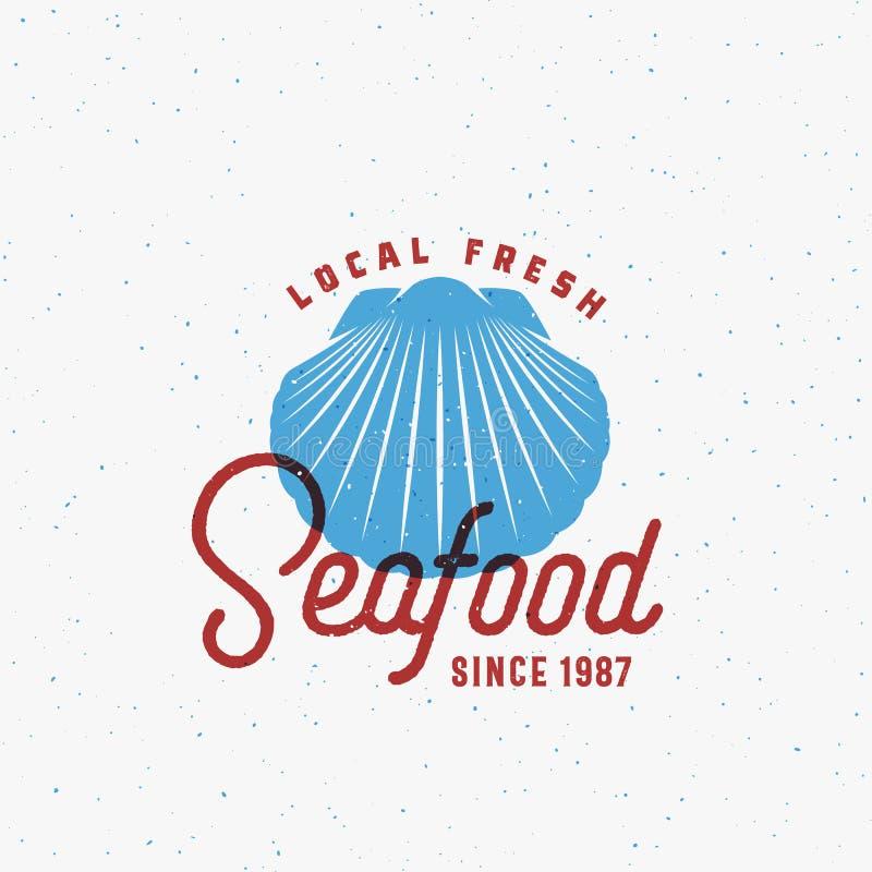 Frutti di mare freschi locali Segno, simbolo o Logo Template astratto di vettore Shell Sillhouette con retro tipografia di classe royalty illustrazione gratis