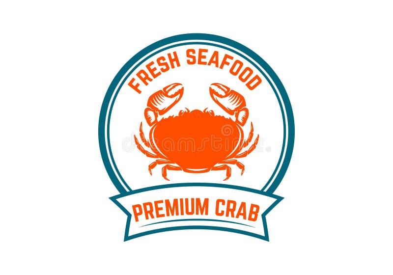 Frutti di mare freschi Modello dell'emblema con l'illustrazione del granchio Progetti l'elemento per il logo, l'etichetta, l'embl royalty illustrazione gratis