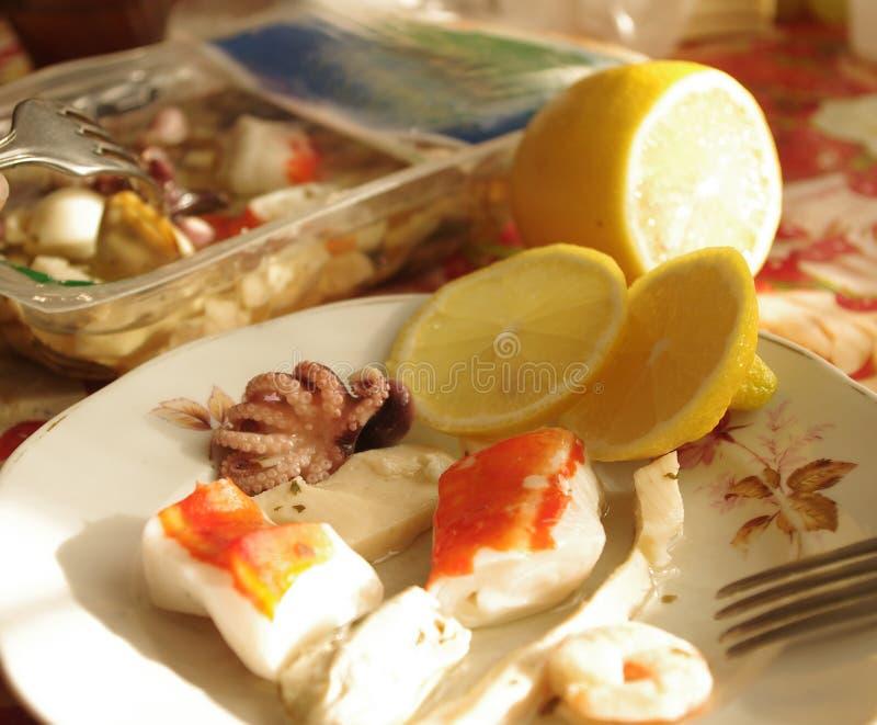 Frutti di mare nel piatto fotografie stock libere da diritti