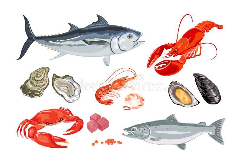 Frutti di mare di vettore nello stile piano isolati su bianco royalty illustrazione gratis