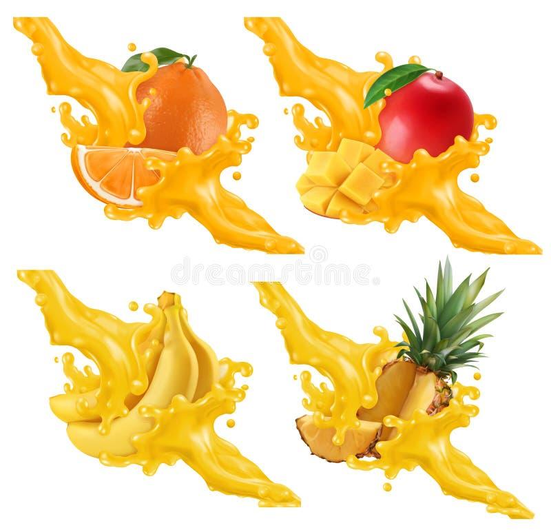 Frutti e bacche in spruzzata di succo Banana, arancia, mango, ananas insieme di vettore 3d illustrazione di stock