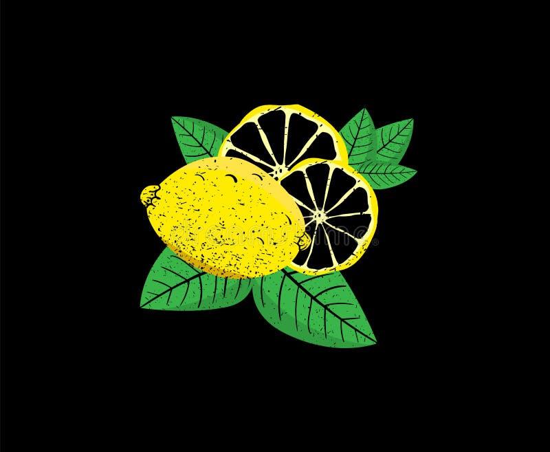 Frutti e fette freschi del limone con la foglia, raccolta isolata su fondo nero delle illustrazioni di vettore royalty illustrazione gratis