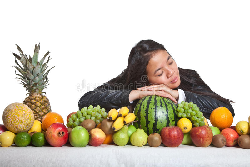 Frutti e ragazza immagine stock libera da diritti