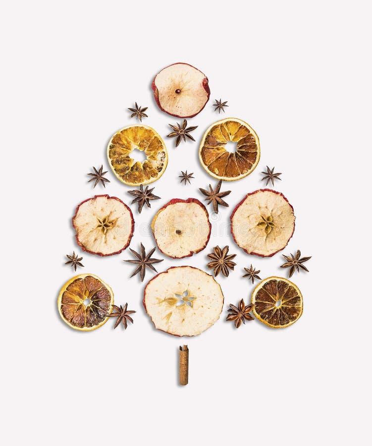 Frutti e spezia asciutti dell'albero di Natale su bianco fotografia stock