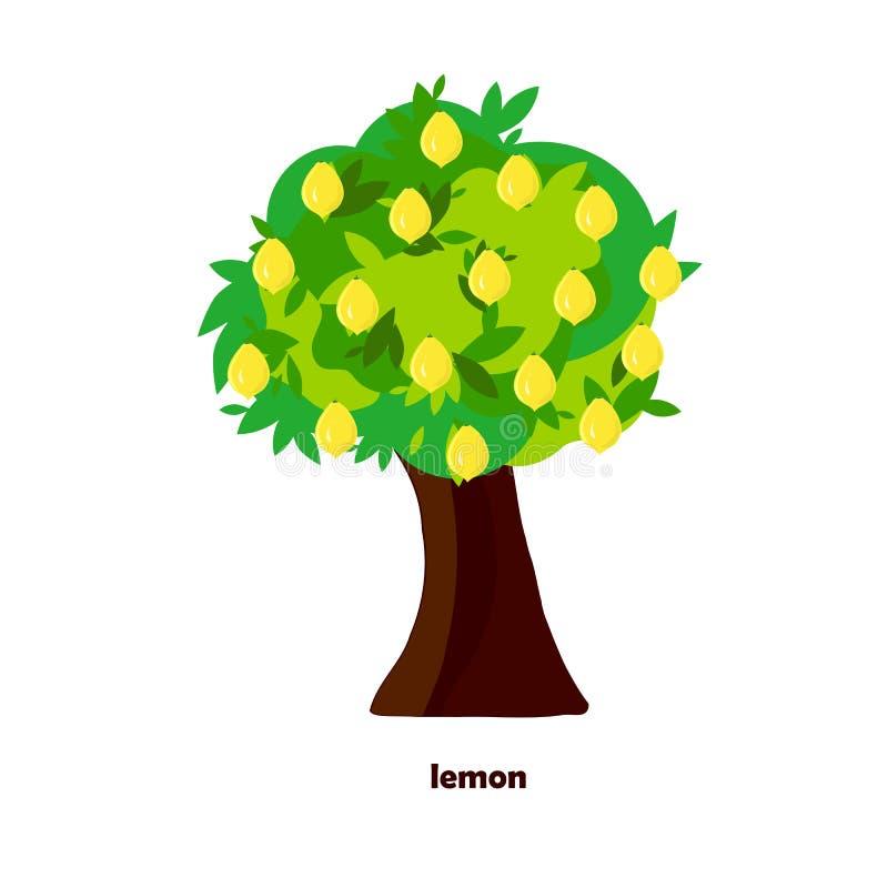 Frutti gialli del limone Oggetto piano di stile dell'elemento di progettazione isolato royalty illustrazione gratis