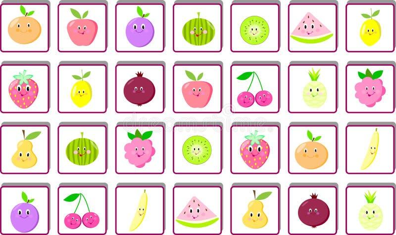Frutti identici del ritrovamento due del gioco di puzzle del ` s dei bambini, pagina, compito, puzzle illustrazione di stock
