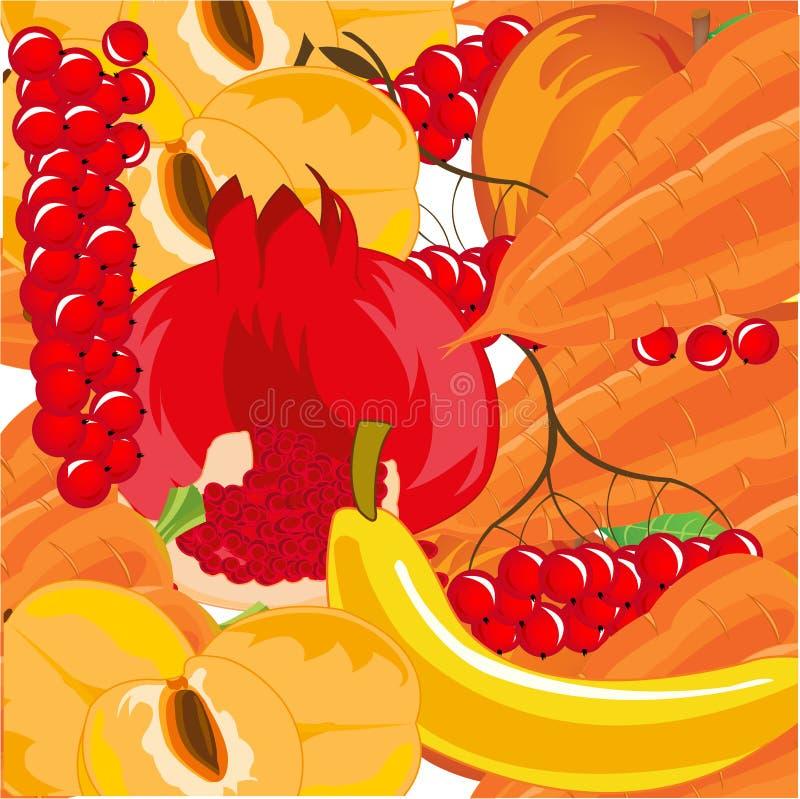 Frutti maturi con il fondo variopinto della bacca e della verdura royalty illustrazione gratis