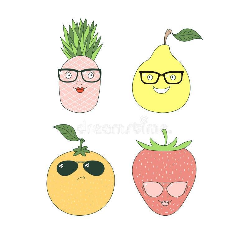 Frutti negli autoadesivi di vetro illustrazione di stock