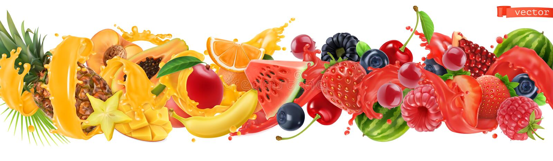 Frutti tropicali dolci e bacche miste Spruzzata di succo Anguria, banana, ananas, fragola, arancia, mango, mirtillo, illustrazione vettoriale