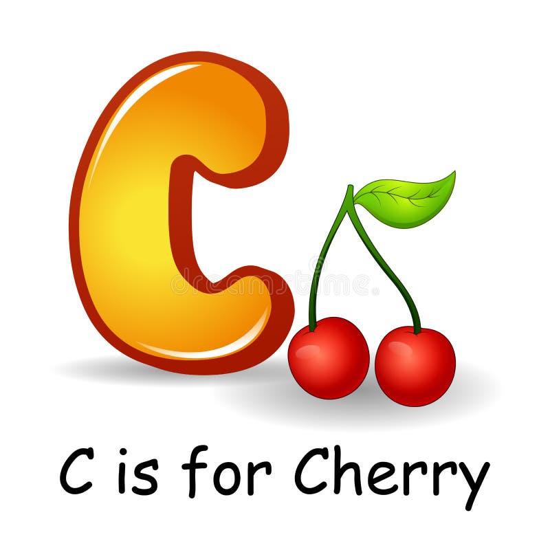 Fruttifica l'alfabeto: La C è per Cherry Fruits illustrazione vettoriale