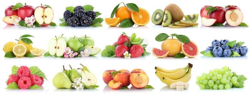 Fruttifica organico arancio della ciliegia della fragola della banana di mele della mela della raccolta della frutta isolato su b fotografia stock libera da diritti