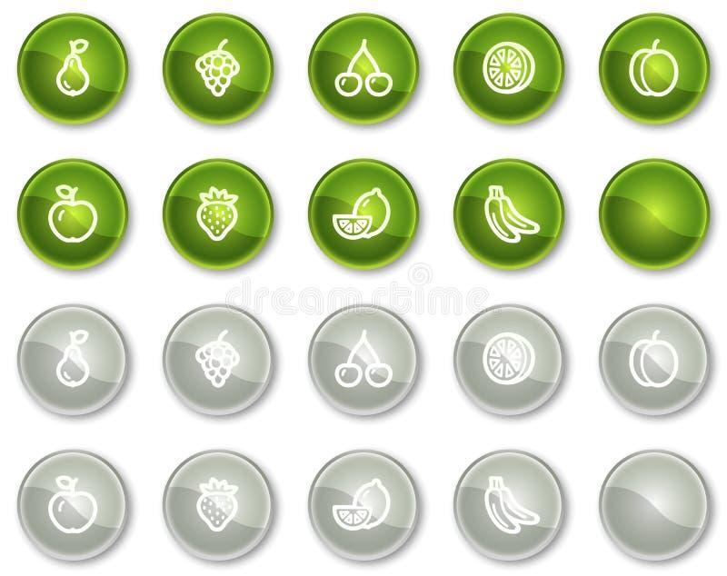 Fruttifica tasti verdi e grigi delle icone di Web, del cerchio royalty illustrazione gratis