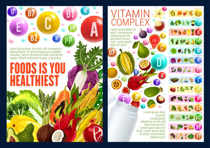 Fruuits und Veggies, Vitaminkomplex lizenzfreie abbildung