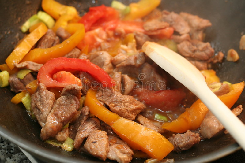 Fry asian food. Asian food. Stir fry of vegetables stock image
