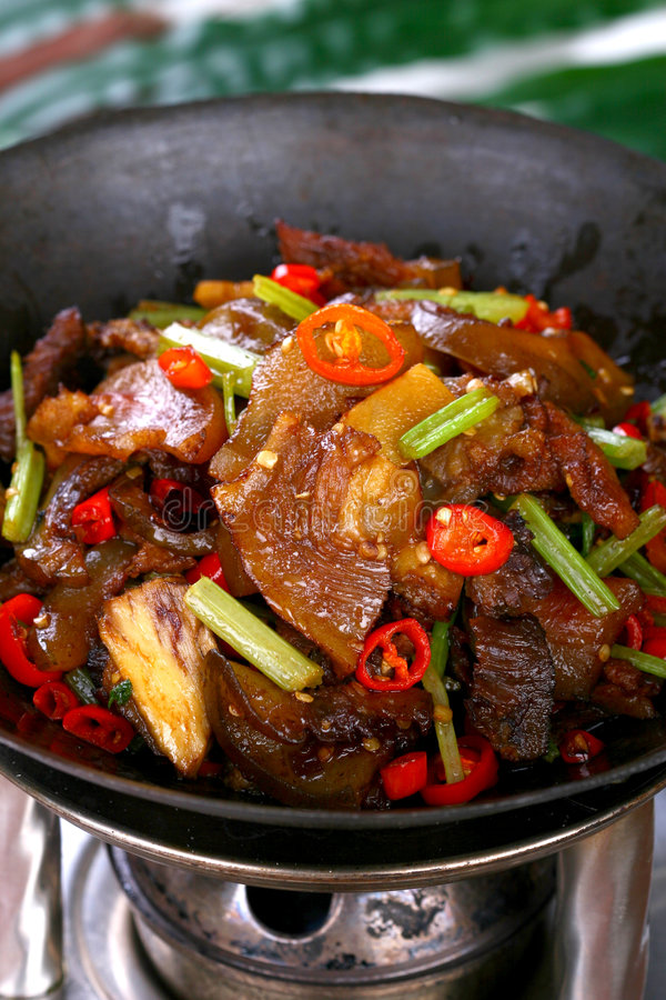 Fry asian food. Asian food. Stir fry of pork and vegetables stock photography