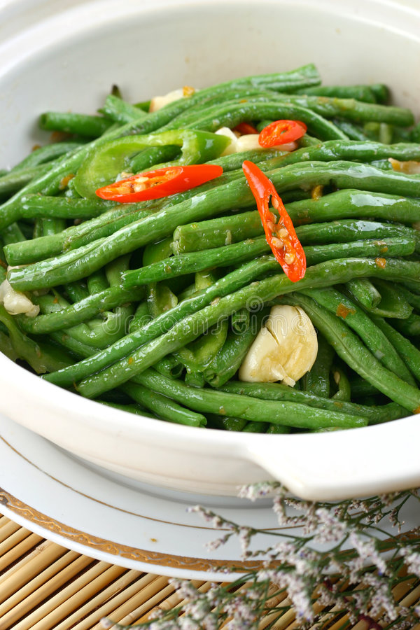 Fry asian food-cowpea. Asian food. Stir fry of cowpea and vegetables stock photography