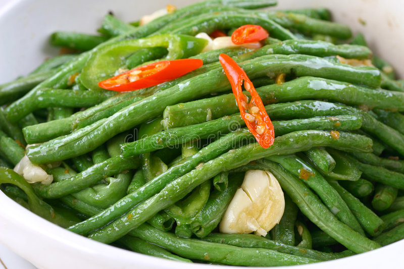 Fry asian food-cowpea. Asian food. Stir fry of cowpea and vegetables stock photo